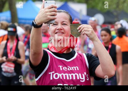 London, UK. 28th April 2019.  Over 40,000 people take part in 2019 Virgin Money London Marathon.  Credit: Dinendra Haria/Alamy Live News - Stock Photo