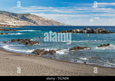 Windy day at the coastline and beach of Los Cancajos in La Palma, Spain. - Stock Photo