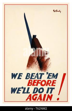 Vintage British WW2 propaganda poster 'We beat 'em before. We'll do it again!' by renowned war artist Pat Keely 1940s - Stock Photo