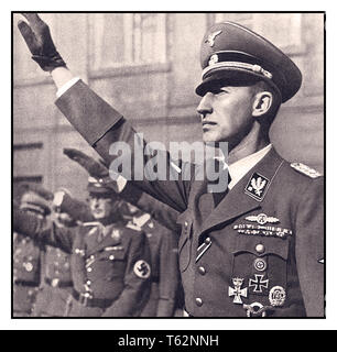 WW2 REINHARD HEYDRICH 1940 Schutzstaffel (SS)-Obergruppenführer and General der Polizei Reinhard Heydrich, head of the Reichssicherheitshauptamt (Reich Main Security Office, RSHA), the combined security services of Nazi Germany, and acting Reichsprotektor of the Protectorate of Bohemia and Moravia Heydrich was one of the most powerful men in Nazi Germany and an important figure in the rise of Adolf Hitler; he was given overall charge of the 'Final Solution (Holocaust) to the Jewish question' in Europe He was rightly loathed by many and was assassinated by extremely brave Czech exile soldiers. - Stock Photo
