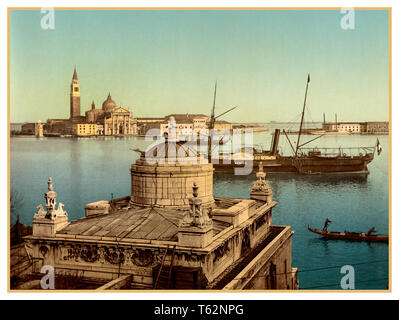 ARCHIVE VENICE HISTORC 1890's Vintage Harbour San Giorgio Maggiore Palladian Church Old Historic Wide View Photochrom  Venice, Italy 1900 Photochrome evocative artistic Grand Canal view Venice, Italy. Using post colouring technique via transfer onto lithographic printing plates from Black and White negative images. Chromolithograph process. 1890's Venice Photochrom  Venice, Italy 1900 - Stock Photo