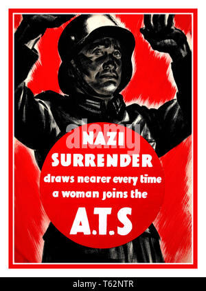 Vintage Recruitment ATS 1940's WW2 UK British Propaganda poster 'Nazi surrender draws nearer every time a woman joins the A.T.S' 1939-1946 - Stock Photo