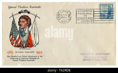 US historical envelope: cover with cachet General Thaddeus Kosciuszko, postage stamp, statue of the hero  1783-1933, five cents, cancellation, 1933 - Stock Photo