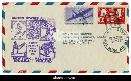 US historical envelope: cover with sport cachet Unites States Air Mail first flight Helsinki Finland, two postage stamps five ten cents, 1947 - Stock Photo