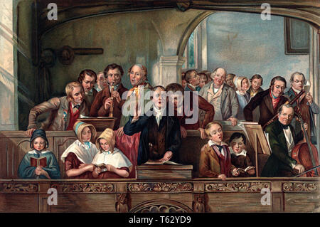 1800s 1847 THOMAS WEBSTER'S THE VILLAGE CHOIR ILLUSTRATION FOR WASHINGTON IRVING CHRISTMAS DAY MUSICIANS SINGERS CHURCH  - kx13198 CPC001 HARS COPY SPACE FRIENDSHIP HALF-LENGTH LADIES PERSONS VILLAGE MALES SING 1800s MUSICIANS HAPPINESS LEADERSHIP VOCAL PRIDE 1847 CONNECTION VOCALIZE STYLISH CHOIRS HYMNS JUVENILES TOGETHERNESS CAUCASIAN ETHNICITY OLD FASHIONED - Stock Photo
