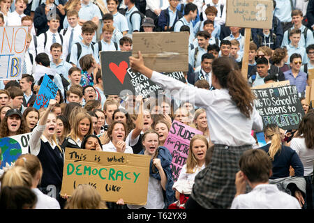 Picture by Tim Cuff - 15 March 2019 - Schoolchildren protest against climate change in the centre of Nelson, New Zealand - Stock Photo