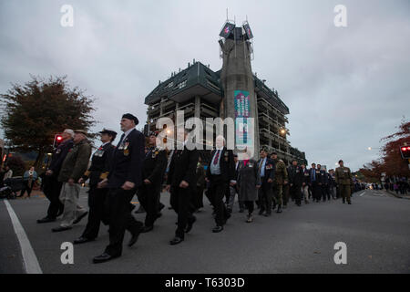 Picture by Tim Cuff - 25 April 2019 - ANZAC Day services, Nelson, New Zealand - Stock Photo