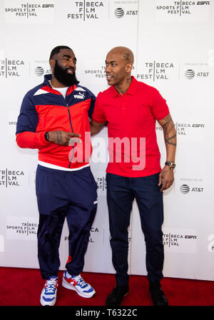 Manhattan, New York/USA - April 27, 2019: Red Carpet before premiere documentary  Kid from Coney Island with Stephon Marbury - Stock Photo