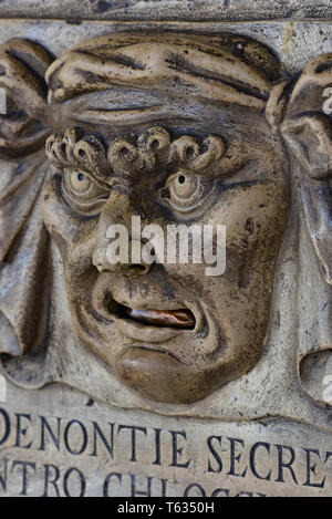 The 'Boca di Leone' (Lion's Mouth), a secret anonymous letterbox used by Venetians for denouncing tax evaders, Doge's Palace, Venice, Italy, Europe. - Stock Photo