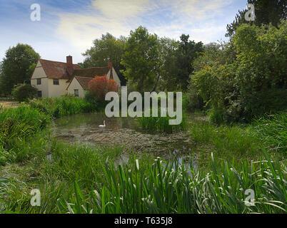 The Hay Wain Scene 2018, Flatford Mill Suffolk - Stock Photo