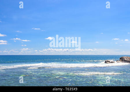 View of the Indian Ocean from fortification in Galle fort, Sri Lanka - Stock Photo