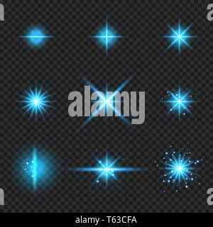Set of elements glowing blue light burst rays,, stars bursts with sparkles isolated on transparent background. Vector illustration - Stock Photo