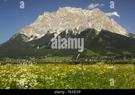 Look to the Zugspitze, the highest mountain in Germany - Stock Photo