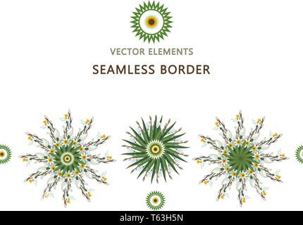 Seamless border with round floral mandalas. Yoga template. Mandala made of daffodils. EPS 10 - Stock Photo