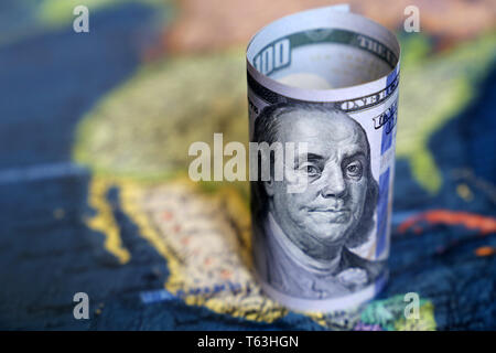 US dollars on the map of Mexico and North America continent. Mexican economy, american investment and trading concept - Stock Photo