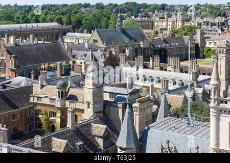Aerial view of college spires from Great St Mary's Church tower, Cambridge, Cambridgeshire, England, United Kingdom - Stock Photo