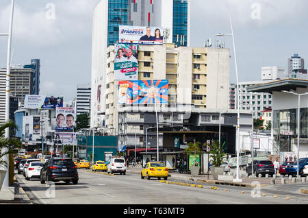 Via España in Panama City downtown. The buildings along the way were covered with candidates propagandas due to the elections going to be on May 5th. - Stock Photo