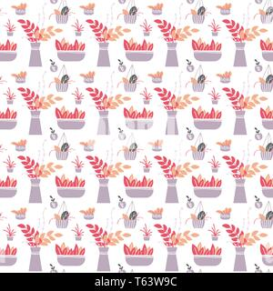 Hand drawn seamless pattern. House plants growing in pots on white background. Vector illustration. Textile, fabric, wrapping paper design - Stock Photo