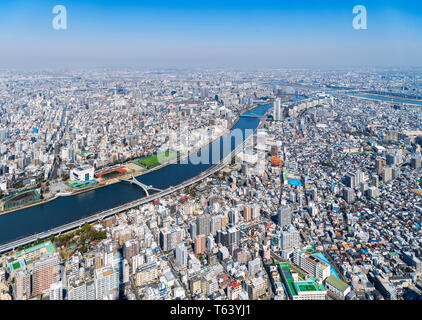 Tokyo Aerial View. Panoramic view over the city from the observation deck of the Tokyo Skytree, Tokyo, Japan - Stock Photo