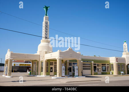 Tower Station and U-Drop Inn Café located along historic U.S. Route 66 in Shamrock, Texas, USA - Stock Photo