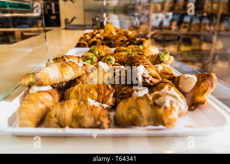Typical mediterranean artisanal pastry for sale in an Italian pastry shop. - Stock Photo
