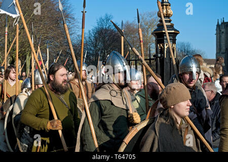Vikings and Anglo Saxons marching at the Viking Festival York North Yorkshire England UK United Kingdom GB Great Britain - Stock Photo