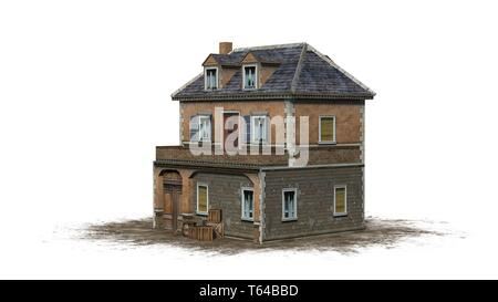 medieval manor on a sand area - isolated on a white background - 3D illustration - Stock Photo