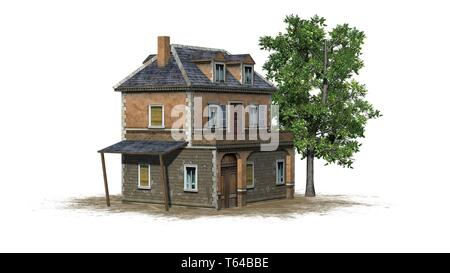 medieval manor on a sand area and tree - isolated on a white background - 3D illustration - Stock Photo