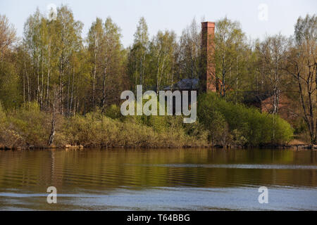 An old factory hiding in springlike birch forest near a lake shore - Stock Photo