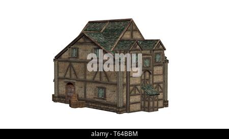 medieval manor - isolated on a white background - 3D illustration - Stock Photo