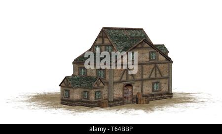 medieval warehouse on a sand -  isolated on white background - 3D illustration - Stock Photo