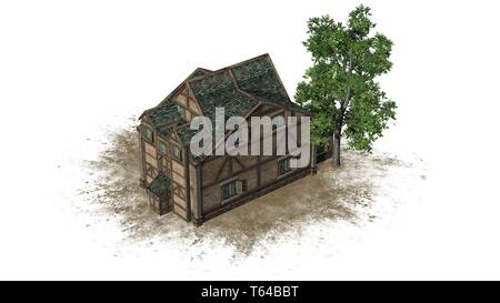 medieval warehouse on a sand area and tree -  isolated on white background - 3D illustration - Stock Photo