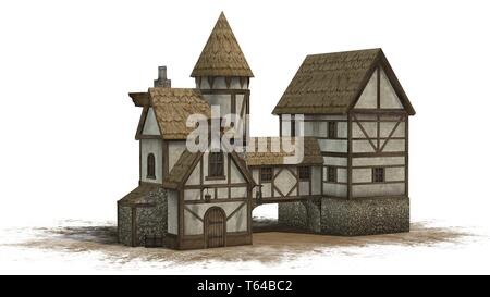 medieval taverne on sand area - isolated on white background - Stock Photo