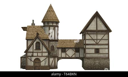 medieval taverne - isolated on white background - Stock Photo