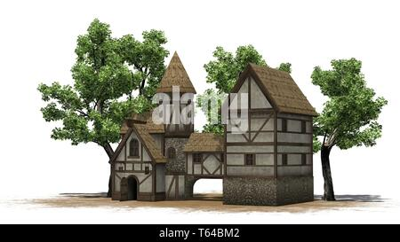 medieval taverne between trees on sand area - isolated on white background - Stock Photo