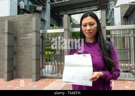 Hong Kong, Hong Kong SAR, China. 18th Mar, 2019. HONG KONG, HONG KONG SAR, CHINA. March 18th 2019.Vanessa Mae Rodel visits Castle Peak Immigration centre for the last time. Following her acceptance to Canada as a refugee, Vanessa attended CIC for the last time to arrange her exit day.Vanessa is one of the Snowden Guardian Angels that looked after Edward Snowden when he went into hiding in Hong Kong following the revelation of the own government surveillance. Credit: Jayne Russell/ZUMA Wire/Alamy Live News