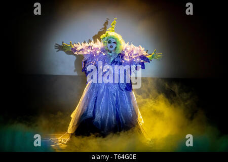 Berlin, Germany. 28th Apr, 2019. Dragqueen Kim Chi appears at 'RuPaul's Drag Race' in the Tempodrom. Dragqueens and travesty artists are long dismissed as 'colourful birds'. The US show 'RuPaul's Drag Race' puts the scene into the mainstream. Credit: Christoph Soeder/dpa/Alamy Live News - Stock Photo