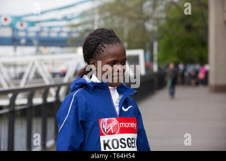 London,UK,29th April 2019,The London Marathon Winners photocall took place outside the Tower Hotel. Kenyans Eliud Kipchoge and Brigid Kosgei both made history as Eliud was the first Elite Man ever to win on four occasions and Brigid was the youngest ever women's winner at 25 years old.Credit: Keith Larby/Alamy Live News - Stock Photo