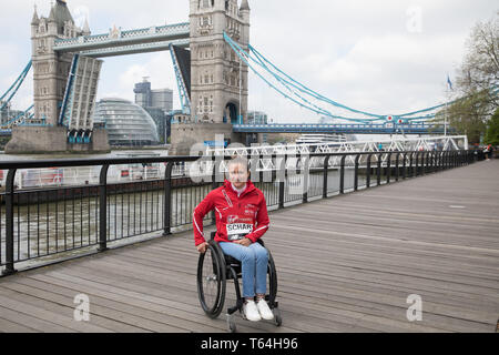 London,UK,29th April 2019,Manuela Schar attends The London Marathon Winners photocall which took place outside the Tower Hotel. Credit: Keith Larby/Alamy Live News - Stock Photo