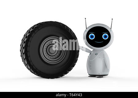 Aviation technology concept with 3d rendering friendly robot with jet engine - Stock Photo