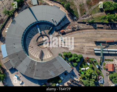 Aerial view of train turning station - Stock Photo