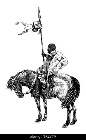 Medieval mounted knight illustration. Templar knight on horseback. Black and white silhouette. - Stock Photo