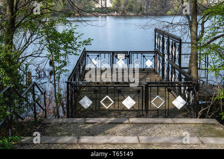 Berlin,Pankow. White Lake Decorative pier at the Weissensee