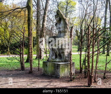 Berlin,Pankow. Weissensee State park, White Lake public park. Sculpture, The Swimmer,  by sculptor Otto Placzekhe,
