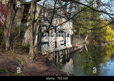 Berlin,Pankow. Weissensee State park, White Lake observation deck  and viewing point