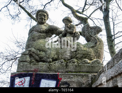 Berlin,Pankow. Weissensee State park, White Lake observation deck  and viewing point with sculptures by sculptor Hans Schellhorn, Two Tritons