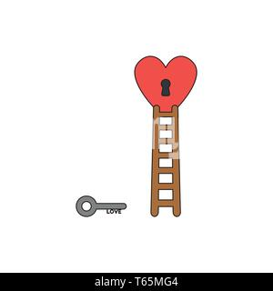 Vector icon concept of grey love key reach keyhole in red heart with wooden ladder. Black outlines and colored. - Stock Photo