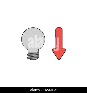 Vector icon concept of grey light bulb with red arrow moving down. Black outlines and colored. - Stock Photo