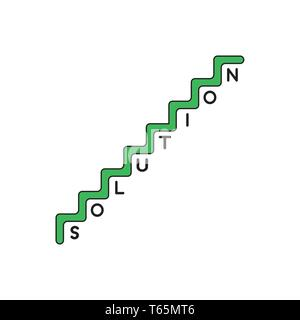 Vector icon concept of green stairs with solution word with one letter per step. Black outlines and colored. - Stock Photo
