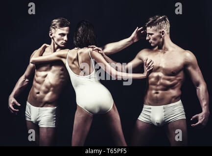 Circus gymnasts at pilates or yoga training. Gymnastic school and energy. Fitness and dieting. Flexibility in acrobatics. Sport people or team work - Stock Photo